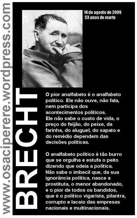 O Saci homenageia os 53 anos de morte de Brecht