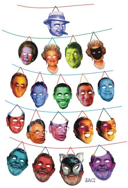 """Apesar de ser permanente censurado pela diretoria da APUB, o Saci, sempre que pode, que dar sua contribuição enquanto """"designer"""" do riso que pretende ser. A essa coleção de PERSONAS que criou com exclusividade para o Baile de Máscaras da APUB, inspirou-se em personalidades que de uma maneira ou de outra estimularam o """"liberou geral"""" que a seçãi sindical vem adotando."""