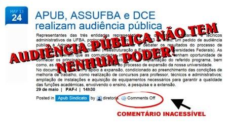 """Para o Saci, alguém precisa avisar à """"tchurma"""" da APUB que Audiência Pública é muito legal, mas sem nenhum poder de fato... Apenas ilude , para os desavisados, que mostra serviço!..."""