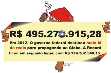 Para o Saci, a Globo não é sócia do governo, mas apenas uma uma cliente VIP...