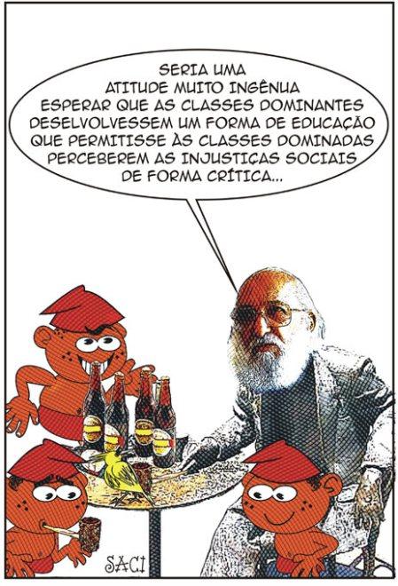 Esta noite o Saci sonhou que estava num botequim com Paulo Freire e mais outros Sacis...